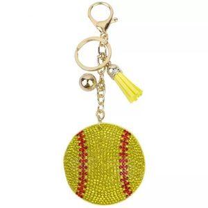 🥎Crystal Softball Keychain & Yellow Tassel